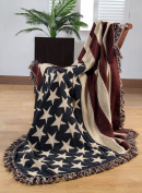 100% Cotton Hand Woven America Flag Throw 50 x 60 Inches / 125 x 150 cm - USA Stars & Stripes Jacquard Sofa Armchair Throw / blanket with Fringes