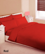 Red Plain Dyed Single Duvet/Quilt Cover Set With Pillow Cases