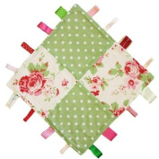 Cath Kidston Fabric Handmade Security Tag Blanket by Dotty Fish. Made in England. White Rosali Design