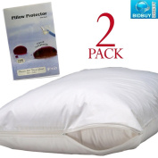 Twin Pack Pillow Protectors with Zip - 100% Cotton - Liquid Resistant - Machine Washable - Anti-Allergy, Anti-Bacterial