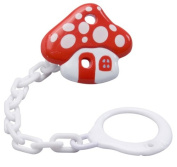 Dummy Soother Clip Holder Chain - Universal Size -- Mushroom Design