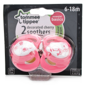 Tommee Tippee Essential Basics Decorated Cherry Soothers 6-18 months - Colour selected at random