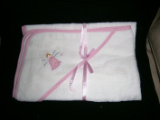 baby girl white pink gingham edged embroided fairy mottif hooded towel size80cm x80cm