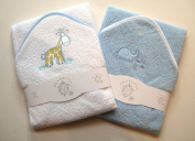 A Set of Two Beautiful Baby Bath Towels - 100% Cotton In Pink or Blue with Cute Animal Appliques