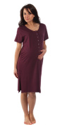 The Bamboo Birthing Shirt - For Pregnancy, Labour, Breastfeeding & Bonding - Berry Red - Small