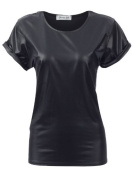Celebrity JESSIE J Wet Leather Look Roll Up Sleeve PVC Casual T-Shirt Womens Top