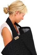 BebeChic *100% Cotton* Breastfeeding Cover *105cm x 69cm* - with drawstring Storage Bag - Boned Nursing Apron - black / white dot