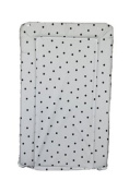 SUPER SOFT PADDED WATERPROOF BABY CHANGING MAT - WHITE WITH BLACK SPOT