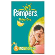 Pampers Baby Dry Size 3 (4-9kg) Large Pack Midi 70 per pack
