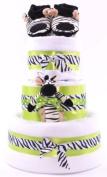 3 Tier Unisex Zebra Stripes Themed Funky Lime Green Nappy Cake