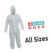 Click Once Disposable Overalls Coverall White Medium with Zip 1 pack