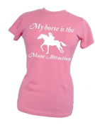 Womens fitted t-shirt 'MY HORSE IS THE MANE ATTRACTION'
