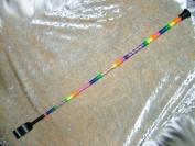 Cap End Highlighter Rainbow Coloured & Bound 60cm Horse Riding Whip/Crop/Bat