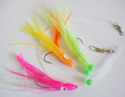 Rigged Squids Skirt Trolling Fishing Lure Bait 100mm. 3 x Muppet with 3/0 Hooks