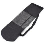 YKS 70cm X23cm Nylon Adjustable Strap Yoga Bag Portable Yoga Mat Bag Nylon Carrier Mesh Centre Black