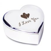 I Love You Silver Finish Heart Shaped Trinket Box