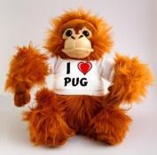 Plush Monkey (Orangutan) Toy with I Love Pug T-Shirt