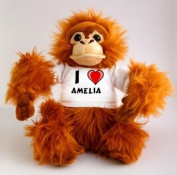 Plush Monkey (Orangutan) Toy with I Love Amelia T-Shirt