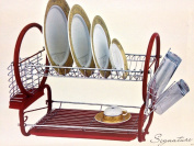 2Tier Chrome Dish drainer and cutlery rack With Plastic Tray In RED New
