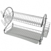 Freelogix 2 Tier Chrome Plate Dish Cutlery Cup Drainer Rack + Drip Tray
