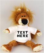 Plush Stuffed Lion (Fetzy) toy with personalised t-shirt - Custom Plush Lion