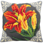 Orange Lily Chunky Cross Stitch Cushion Front Kit