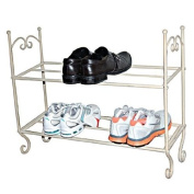 "Shabby N Chic ~ Vintage CREAM 2 TIER SHOE RACK ~ French boutique style ~ WIDTH 69cm (27"") x DEPTH 22cm (9"") x HEIGHT 62cm"