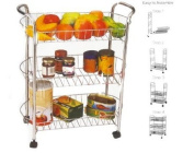 3 Tier Chrome Vegetable Fruit Kitchen Trolley Storage Cart With Wheels