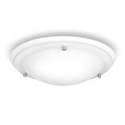 Modern IP44 White Gloss & Frosted Glass Flush Bathroom Ceiling Light