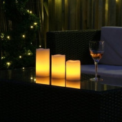 Set of 3 Remote Control Vanilla Scented LED Wax Flickering Mood Candles Lights Flameless