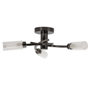 Modern 3 Way Black Chrome Ceiling Light with Glass Shades
