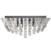 Marco Tielle LANNA Crystal and Chrome Square 4 Light Ceiling Light Chandelier 4x40w G9