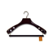 SUPERB BROAD LUXURY WOODEN SUIT COAT CLOTHES HANGER WITH VELVET & GILT TROUSER BAR - The Ultimate Hanger - GUARANTEED QUALITY 43CM