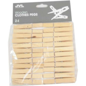 JVL 24-Piece Strong Wooden Retro Vintage Clothes Pegs
