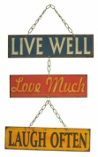 Retro Live Well Love Much Laugh Often Retro Metal Hanging Sign