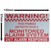Monitored Alarm System Stickers - 24hr Security Warning Signs for Home, House, Flat, Business, Property-Self Adhesive Vinyl Sign