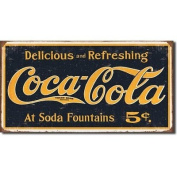 Coca Cola Delicious and Refreshing 40x21cm Tin Sign