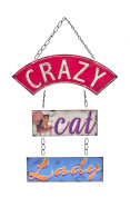 Retro Vintage 'Crazy Cat Lady' Hanging Metal Wall Plaque Sign