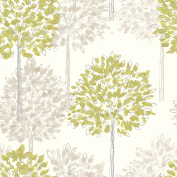 Green / Cream / Beige - 417904 - Boulevard - Trees - Forest - Arthouse Wallpaper