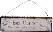 Chic & Shabby Bless Our Home With Love And Laughter Wooden Door Wall Sign Plaque