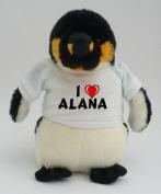 Personalised penguin plush toy with I love Alana T-Shirt