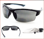 Smoke Polarised Bifocal Reading Sunglasses for Men and Women. TAC Polarised Lenses and TR90 Frame. Free Microfiber Cleaning Case Included.