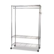 Alera GR354818SR Wire Shelving Garment Rack, Coat Rack, Stand Alone Rack, Silver Steel with Casters