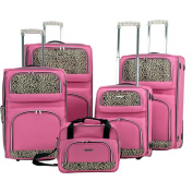 Rockland Luggage 5-Piece Rolling Upright Luggage Set, Pink