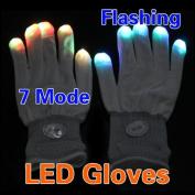 Vktech 7 Mode LED Rave Light Glow Mitt White Finger Lighting Flashing Gloves