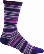 Darn Tough Socks Merino Wool Stripes Crew Light Blackberry Medium