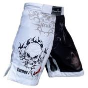Turner MAX MMA Shorts for MMA fighting Kick Boxing Training Grappling and Cage Fight White Black