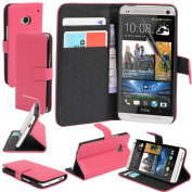 MadCase ® Premium PU Leather HTC ONE M7 Credit Card Wallet Side Flip Case Cover with Free Screen Guard and Microfiber Cloth
