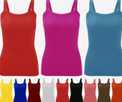 Ladies New Ribbed Strap Vest Top Womens Stretch Sleeveless Cami T Shirt Tee