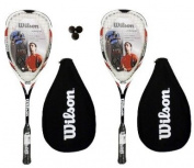 2 x Wilson Hyper Hammer 145 Red Squash Rackets + 3 Squash Balls RRP £232